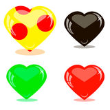 Icons glass hearts Stock Photography