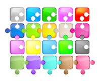Icons glass shaped puzzle Royalty Free Stock Images