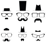 Icons glasses mustache and folders. Pic Royalty Free Stock Photo