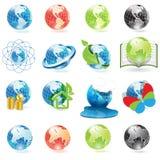 Icons globe. Illustration, sixteen varicoloured icons of the globe Stock Photos