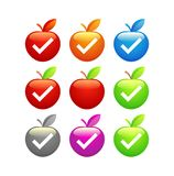 Icons of glossy Apples Stock Photography