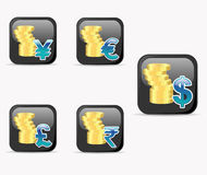 Icons with gold coins and currency sign Royalty Free Stock Photo