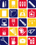 Icons of graphic and plastic arts. This is a collection of icons related with arts Stock Image