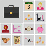 Icons gray, square / Icon set revenue/ Icon case, suitcase, Royalty Free Stock Photography