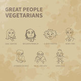 Icons. Great people - vegetarians-Vegetarianism-Icons-Vintage-Aged paper royalty free illustration