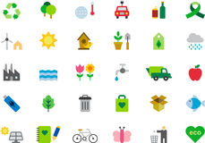 Icons about green issues. Set of colorful icons illustrating subjects related to green issues and the environment, white background Royalty Free Stock Photos
