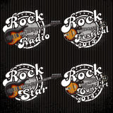 Icons with guitars and various inscriptions. Set of vector icons with guitars and various inscriptions Stock Photography