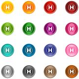 Icons H. 16 colorful shiny buttons/icons for your application vector illustration