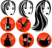 8 icons for hair salon. Round form, orange Royalty Free Stock Photography