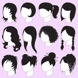 Icons of hairstyle for beautiful women. Stock Photos