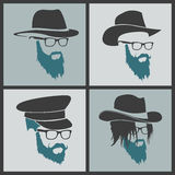 Icons hairstyles beard and mustache hipster full Stock Photos
