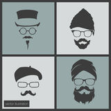 Icons hairstyles beard and mustache Royalty Free Stock Image