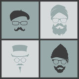 Icons hairstyles beard and mustache hipster Royalty Free Stock Photos