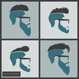 Icons hairstyles beard Stock Image