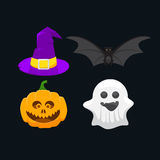 icons for Halloween, pumpkin, ghost, witch hat and a bat Stock Photo