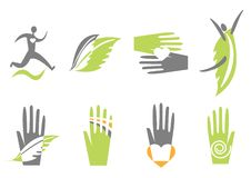 Icons with hand, heart and human. Vector Stock Image