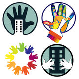 Icons with hand. House, construction, hand, brush, icons set on white background Stock Photography