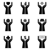 Icons of a hand and symbols. Set of icons, hands hold symbols for life Royalty Free Stock Image