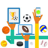 Icons of hands with phone and sports icons Royalty Free Stock Images