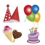 Icons for happy birthday Stock Image