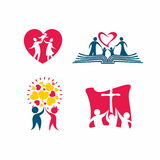 Icons happy Christian family. The community of loving the Lord Jesus Christ. Stock Photography