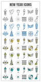 Icons happy new year vector color black Yellow green blue on whi Royalty Free Stock Photography