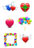 Icons  of Happy Valentines day isolated on white Stock Images