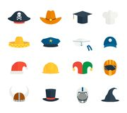 Icons hat set. Modern and old hat and caps icons set isolated vector illustration Stock Photos