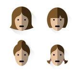 Icons heads of women Stock Photo