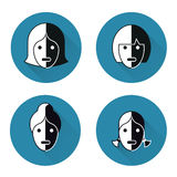 Icons heads of women Royalty Free Stock Images