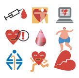 Icons_health_hearth. Icons of health, fitness, cardiology. Isolated on white background. Vector illustration Royalty Free Stock Photos