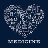 Icons of healthcare or medicine equipment as heart. Icons of healthcare or medicine equipment in shape of heart.  Stethoscope or DNA, doctor or medic, pipette or Stock Photo
