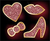 Icons a heart, lips, a bow, the shoes stock illustration