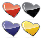 Icons of hearts in different colors. Raster Vector Illustration
