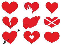 Icons hearts Stock Photography