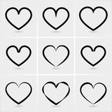 Icons hearts. Vector set. eps10 Royalty Free Stock Images