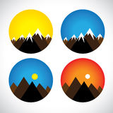 Icons of hills & peaks with snow in evenings, mornings - concept Royalty Free Stock Photo
