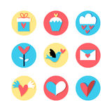 Icons for the holiday Valentine's Day Stock Image