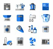 Icons, home appliances, color, blue, grey. Royalty Free Stock Images