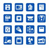 Icons, home appliances, kitchen appliances and home, white, blue. Stock Photography