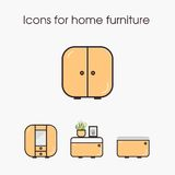 Icons for home furniture Stock Photography