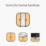 Icons for home furniture Royalty Free Stock Images