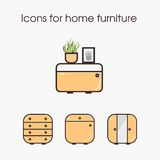 Icons for home furniture Stock Images