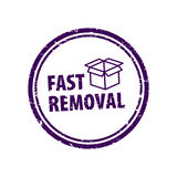 Icons of home relocation service, worldwide transportation assistance, moving house. Stamp of fast moving, home removals. Stock . Flat design Stock Photo