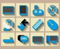 Icons home tech and wireless set Stock Images