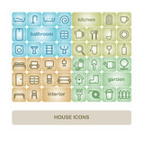Set of vector icons of furniture, appliances, items, house and garden. Stock Photos
