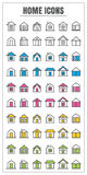 Icons home thin line color black blue pink Yellow green vector S Royalty Free Stock Image