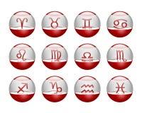 Icons horoscope. Nice red icons with the horoscope simbols stock illustration