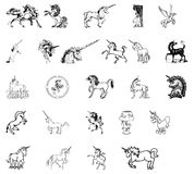 Icons horses unicorns Royalty Free Stock Images