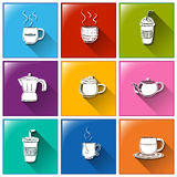Icons with hot and cold drinks Royalty Free Stock Images